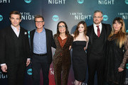 """(L-R) Chris Pine,  President, TNT & TBS and Chief Content Officer Kevin Reilly, EVP, Original Programming TNT Sarah Aubrey, India Eisley, showrunner Sam Sheridan, and showrunner Patty Jenkins attend the """"I Am the Night"""" Premiere at Metrograph on January 22, 2019 in New York City. 484171"""