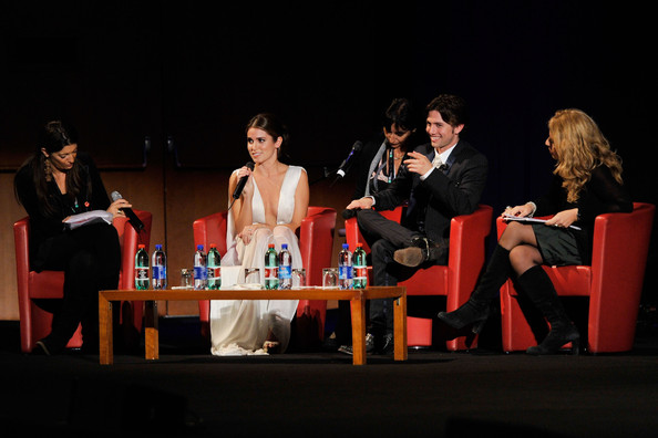 "Nikki Reed Actress Nikki Reed (2nd from L) and actor Jackson Rathbone (2nd from R) attend the ""The Twilight Saga: Breaking Dawn - Part 1"" Q&A during the 6th International Rome Film Festival on October 30, 2011 in Rome, Italy."