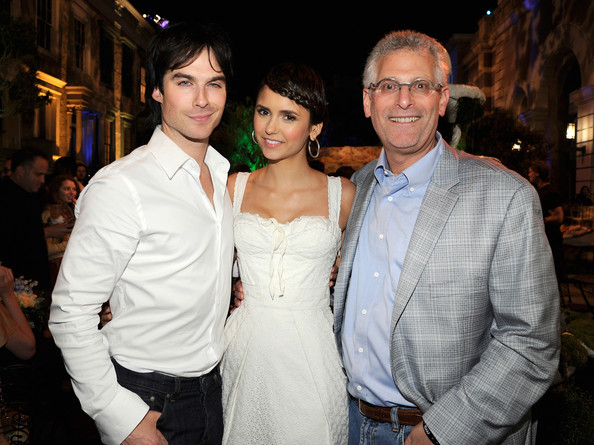 Nina Dobrev Ian Somerhalder, Nina Dobrev and Mark Pedowitz attend the CW launch party presented by Bing at Warner Bros. Studios on September 10, 2011 in Burbank, California.