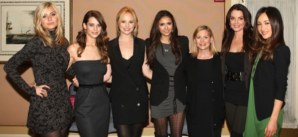 Nina Dobrev (L-R) Actresses Aly Michalka, Lyndsy Fonseca, Candice Accola, Nina Dobrev, Dawn Ostroff, President of Entertainment, The CW and actresses Erica Durance and Maggie Q attend The CW's 2011 Winter TCA Party at The Langham Huntington Hotel on January 14, 2011 in Pasadena, California.