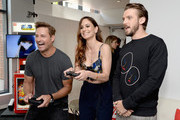 """(L-R) Actors Josh Holloway and Sarah Wayne Callies from the televison series """"Colony"""" and Dan Stevens from the televisoin series """"Legion""""  stopped by Nintendo at the TV Insider Lounge to check out Nintendo Switch during Comic-Con International at Hard Rock Hotel San Diego on July 20, 2017 in San Diego, California."""