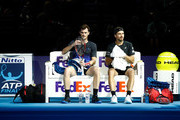 Jamie Murray of Great Britain and Brunro Soares of Brazil in conversation during doubles round robin match against Juan Sebastian Cabal of Columbia and Robert Farah of Columbia during Day Three of the Nitto ATP Finals at The O2 Arena on November 13, 2018 in London, England.