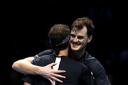 Jamie Murray of Great Britain and Brunro Soares of Brazil celebrate match point during doubles round robin match against Juan Sebastian Cabal of Columbia and Robert Farah of Columbia during Day Three of the Nitto ATP Finals at The O2 Arena on November 13, 2018 in London, England.