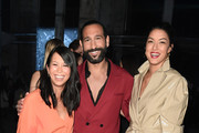 (L-R) Minh-Khai Phan-Thi, Rebecca Mir and Massimo Sinato attend the Nobi Talai show during Berlin Fashion Week Autumn/Winter 2020 at Kraftwerk Mitte on January 15, 2020 in Berlin, Germany.