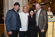 Chef Nobu Matsuhisa, Food & Wine Editor-in-Chief Nilou Motamed and Peter Lindberg and guest (L) attend the Nobu Downtown Sake Ceremony at Nobu Downtown on May 30, 2017 in New York City.