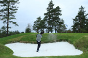 Thomas Aiken of South Africa plays his 2nd shot out of a bunker on the 15th hole during day three of the Nordea Masters at Hills Golf Club on August 18, 2018 in Gothenburg, Sweden.
