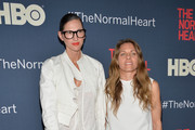 "Jenna Lyons and Courtney Crangi attend the New York premiere of ""The Normal Heart"" at Ziegfeld Theater on May 12, 2014 in New York City."