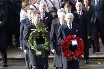 Norman Fowler Wreaths Are Laid At The Cenotaph On Remembrance Sunday