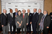 (L-R) Thomas F. Schutte, Francis Holloway, Gary Hattem, Laurie Anderson, Salman Rushdie, Gay Talese, Billy Collins, Bruce Giltin and Lawrence Schiller attend the Norman Mailer Center 7th Annual Awards ceremony and celebration at Pratt Institute on December 10, 2015 in New York City.