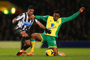 Hatem Ben Arfa of Newcastle United and Leroy Fer of Norwich City battle for the ball during the Barclays Premier League match between Norwich City and Newcastle United at Carrow Road on January 28, 2014 in Norwich, England.