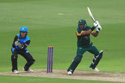 Samit Patel of Nottinghamshire hits the ball towards the boundary, as Ben Cox of Worcestershire looks on during the Royal London One-Day Cup match between Nottinghamshire nad Worcestershire at Trent Bridge on June 1, 2018 in Nottingham, England.
