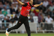 Imran Tahir of Durham celebrates after taking the wicket of Billy Root during the Vitality Blast match between Nottinghamshire Outlaws and Durham Jets at Trent Bridge on July 17, 2018 in Nottingham, England.