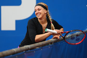 Sabine Lisicki of Germany reacts during her match against Laura Arruabarrena of Spain during day four of the Nuernberger Versicherungscup 2016 on May 17, 2016 in Nuremberg, Germany.