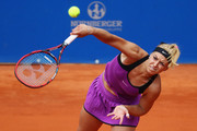 Sabine Lisicki of Germany serves the ball to Varvara Lepchenko of USA during day five of the Nuernberger Versicherungscup 2016 on May 18, 2016 in Nuremberg, Germany.
