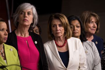 Nydia Velazquez Democratic House Leader Nancy Pelosi and House Democrats Hold News Conference on President's Controversial Tweets at MSNBC's TV Anchors
