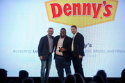 Head of Digital, Media, and Hispanic Marketing Luis Martinez (C) accepts the Everywhere Brand of the Year award on behalf of Denny's from Yext Co-Founder & President Brian Distelburger and Yext EVP of Partner Jonathan Cherins onstage at the ONWARD17 Conference- Day 1 on November 1, 2017 in New York City.