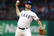 Doug Fister #38 of the Texas Rangers throws against the Oakland Athletics in the second inning at Globe Life Park in Arlington on April 25, 2018 in Arlington, Texas.