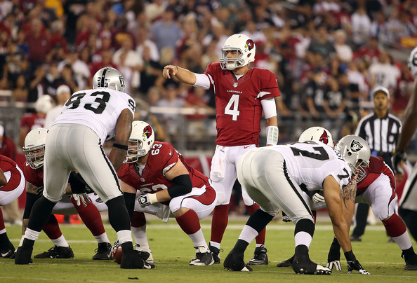 Quarterback Kevin Kolb #4 of the Arizona Cardinals during the NFL preseason game against the Oakland Raiders at the University of Phoenix Stadium on August 17, 2012 in Glendale, Arizona.