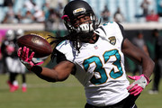 Chris Ivory #33 of the Jacksonville Jaguars warms up prior to the game against the Oakland Raiderat EverBank Field on October 23, 2016 in Jacksonville, Florida.