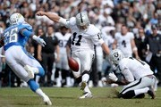 Sebastian Janikowski #11 of the Oakland Raiders  kicks a field goal against the San Diego Chargers during their NFL game at Qualcomm Stadium on October 25, 2015 in San Diego, California.