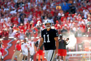 Kicker Sebastian Janikowski #11 of the Oakland Raiders reacts after missing a 54-yard field goal as time expired at the end of the fourth quarter to send the game into overtime of an NFL game against the Tampa Bay Buccaneers on October 30, 2016 at Raymond James Stadium in Tampa, Florida.