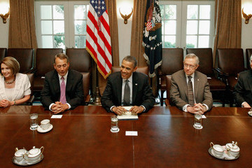 Nancy Pelosi Eric Cantor Obama And Congressional Leaders Continue Talks On Debt Ceiling And Deficit