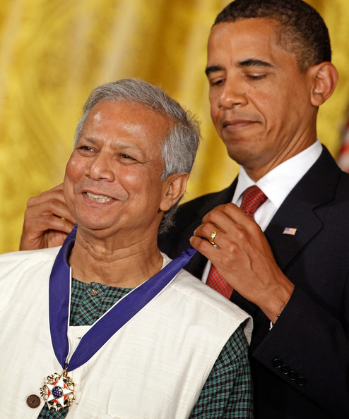 Muhammad Yunus U.S. President Barack Obama (R) presents the Medal of Freedom to Professor Muhammad Yunus, founder of the Grameen Bank, during a ceremony in the East Room of the White House August 12, 2009 in Washington, DC. Obama presented the medal, the highest civilian honor in the United States, to 16 recipients during the ceremony.