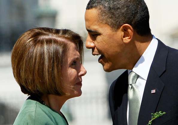 Barack Obama U.S. President Barack Obama (R) talks to U.S. Speaker of the House Rep. Nancy Pelosi (D-CA) (L) during a departure from the annual St. Patrick?s Day Capitol Hill luncheon March 17, 2010 on Capitol Hill in Washington, DC. Obama will host Irish Taoiseach Brian Cowen for a St. Patrick?s Day reception at the White House in the evening.
