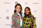 Nadine Warmuth and Rabea Schif attend the Odeeh Defile during the Berlin Fashion Week Autumn/Winter 2019 at Haus Der Berliner Festspiele on January 14, 2019 in Berlin, Germany.