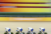 Ed Clancy, Paul Manning, Geraint Thomas and Bradley Wiggins of Great Britain compete in the men's team pursuit track cycling event held at the Laoshan Velodrome during Day 9 of the 2008 Beijing  Summer Olympic Games on August 17, 2008 in Beijing, China.