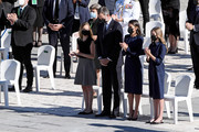Crown Princess Leonor, King Felipe of Spain, Queen Letizia of Spain and Princess Sofia attend the State tribute to the victims of the coronavirus at the Royal Palace on July 16, 2020 in Madrid, Spain.