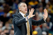 Billy Donovan the head coach of the Oklahoma City Thunder gives instructions to his team against the Indiana Pacers at Bankers Life Fieldhouse on December 13, 2017 in Indianapolis, Indiana.  NOTE TO USER: User expressly acknowledges and agrees that, by downloading and or using this photograph, User is consenting to the terms and conditions of the Getty Images License Agreement.
