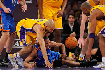 Kobe Bryant Derek Fisher Oklahoma City Thunder v Los Angeles Lakers, Game 5