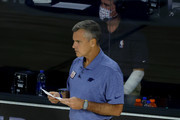 Billy Donovan of the Oklahoma City Thunder looks on against the Los Angeles Lakers during the first quarter at HP Field House at ESPN Wide World Of Sports Complex on August 05, 2020 in Lake Buena Vista, Florida. NOTE TO USER: User expressly acknowledges and agrees that, by downloading and or using this photograph, User is consenting to the terms and conditions of the Getty Images License Agreement.