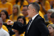 Head coach Billy Donovan of the Oklahoma City Thunder gestures in the first half during Game Three of Round One of the 2018 NBA Playoffs against the Utah Jazz at Vivint Smart Home Arena on April 21, 2018 in Salt Lake City, Utah.  NOTE TO USER: User expressly acknowledges and agrees that, by downloading and or using this photograph, User is consenting to the terms and conditions of the Getty Images License Agreement.