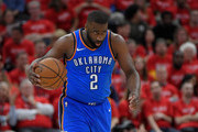 Raymond Felton #2 of the Oklahoma City Thunder brings the ball up court against the Utah Jazz in the first half during Game Three of Round One of the 2018 NBA Playoffs at Vivint Smart Home Arena on April 21, 2018 in Salt Lake City, Utah.  NOTE TO USER: User expressly acknowledges and agrees that, by downloading and or using this photograph, User is consenting to the terms and conditions of the Getty Images License Agreement.