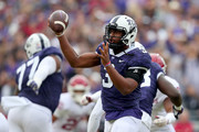 Shawn Robinson #3 of the TCU Horned Frogs looks for an open receiver against the Oklahoma Sooners in the first half at Amon G. Carter Stadium on October 20, 2018 in Fort Worth, Texas.