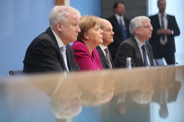 Olaf Scholz Horst Seehofer Political Parties Hold Press Conferences Prior To Coalition Signing