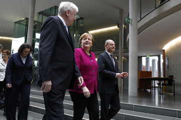 Olaf Scholz Horst Seehofer CDU, SPD and CSU Sign Coalition Contract To Form The Next German Government