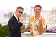 """Nicolas Winding Refn and Miles Teller attend the """"Too Old To Die Young"""" photocall during the 72nd annual Cannes Film Festival on May 18, 2019 in Cannes, France."""