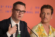"""Nicolas Winding Refn and Miles Teller attend the """"Too Old To Die Young"""" press conference during the 72nd annual Cannes Film Festival on May 18, 2019 in Cannes, France."""