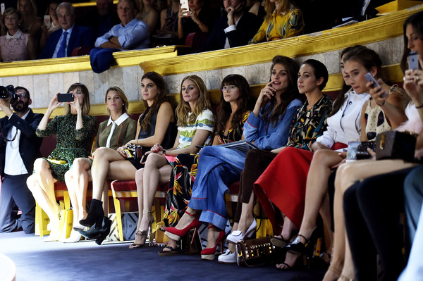 Fendi : Front Row - Paris Fashion Week - Haute Couture Fall/Winter 2015/2016 [haute couture fall,event,fashion,audience,footwear,competition event,team,crowd,championship,competition,leonetta luciano fendi,elisa sednaoui,miroslava duma,olivia palermo,front row,l-r,delfina delettrez fendi,paris fashion week,show]