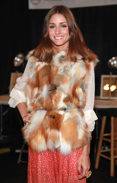 Olivia Palermo TV personality Olivia Palermo poses backstage at the Tibi Fall 2011 fashion show during Mercedes-Benz Fashion Week at The Stage at Lincoln Center on February 15, 2011 in New York City.