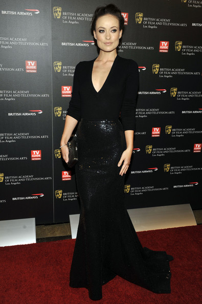18th Annual BAFTA Los Angeles Britannia Awards - Arrivals [picture,flooring,little black dress,formal wear,carpet,dress,fashion,fashion model,red carpet,gown,cocktail dress,arrivals,olivia wilde,los angeles,california,hyatt regency century plaza hotel,bafta,britannia awards]