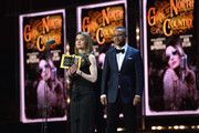 Shirley Henderson (L) winner of the award for Best Actress In A Musical for 'Girl From The North Country' and Cuba Gooding Jr. on stage during The Olivier Awards with Mastercard at Royal Albert Hall on April 8, 2018 in London, England.