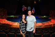 """Dancer Cheryl Burke (L) and Olympian Ryan Lochte pose in the """"O"""" theater during a  rehearsal for their """"Dancing with the Stars"""" performance with the cast of """"O by Cirque du Soleil"""" at the Bellagio on September 30, 2016 in Las Vegas, Nevada."""