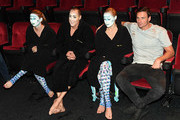 "(L-R) ""O by Cirque du Soleil"" performers Nayara Figueira, Bill May and Christina Jones sit with Olympian Ryan Lochte during a rehearsal for Lochte and dancer Cheryl Burke (not pictured) for their ""Dancing with the Stars"" performance with the cast of ""O"" at the Bellagio on September 30, 2016 in Las Vegas, Nevada."