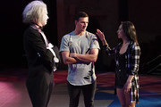 """(L-R) """"O by Cirque du Soleil"""" performer Benedikt Negro as the character Le Vieux talks with Olympian Ryan Lochte and dancer Cheryl Burke as they rehearse for their """"Dancing with the Stars"""" performance with the cast of """"O"""" at the Bellagio on September 30, 2016 in Las Vegas, Nevada."""