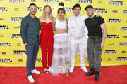 """(L-R) Actor and co-writer Nick Kroll, actress Morgan Schild, actress and co-writer Alexi Pappas, director and co-writer Jeremy Teicher, and actor Gus Kenworthy attend the """"Olympic Dreams"""" premiere during the 2019 SXSW Conference and Festivals at ZACH Theatre on March 10, 2019 in Austin, Texas."""