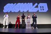"""(L-R) Director and co-writer Jeremy Teicher, actors and Olympic athletes Morgan Schild,  Gus Kenworthy and Alexi Pappas, and actor and co-writer Nick Kroll attend the """"Olympic Dreams"""" premiere during the 2019 SXSW Conference and Festivals at ZACH Theatre on March 10, 2019 in Austin, Texas."""